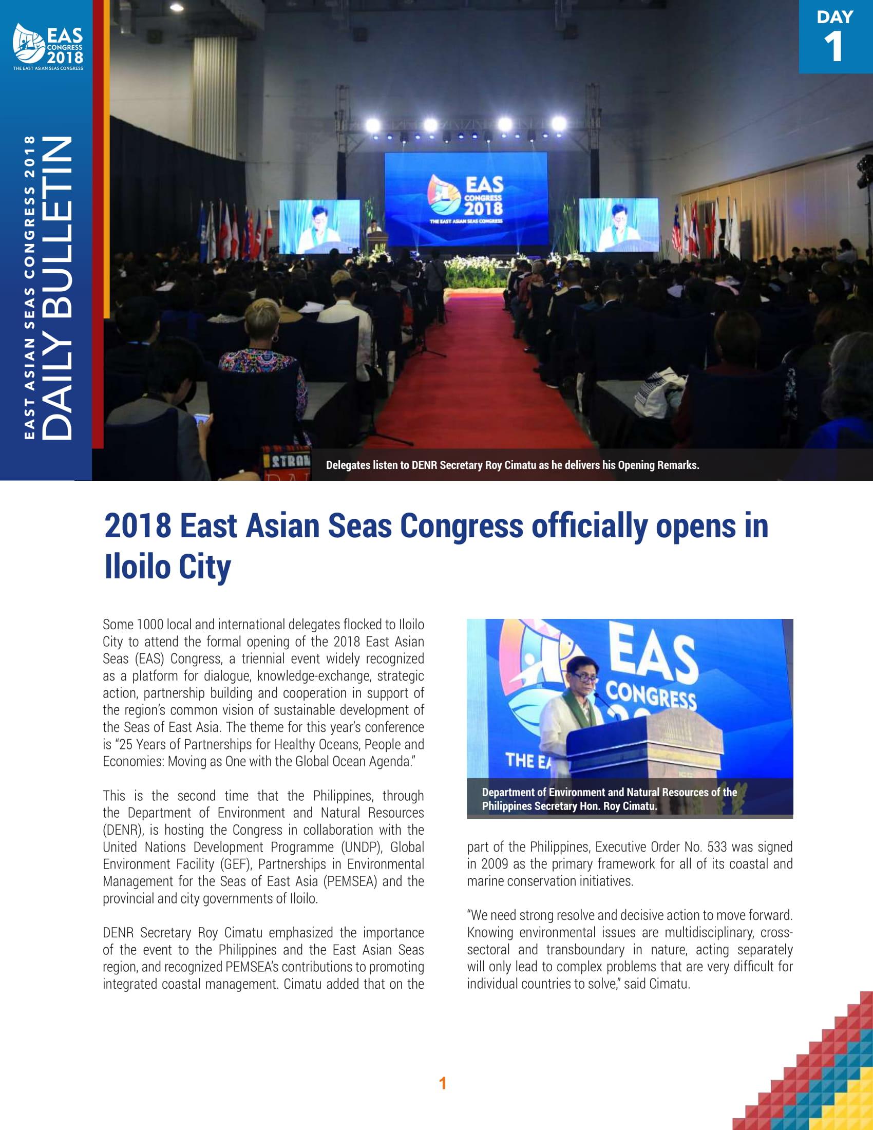 EASC 2018 Daily Bulletin: Day 1